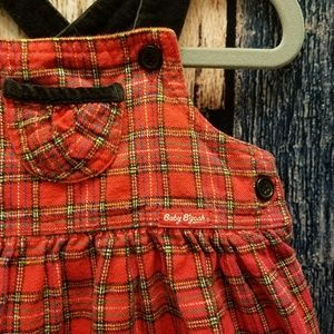 Vintage Plaid Overall Dress